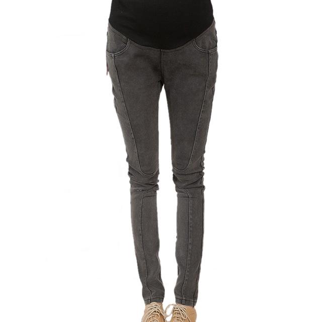 Nueva moda de primavera y otoño las mujeres embarazadas jeans pantalones de maternidad Embarazo llevar pantalones