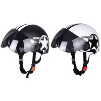 Protective Motorcycle Helmet 56cm 60cm Half Open Face Bike Bicycle Helmet Star Stripe Pattern with Goggles Black White