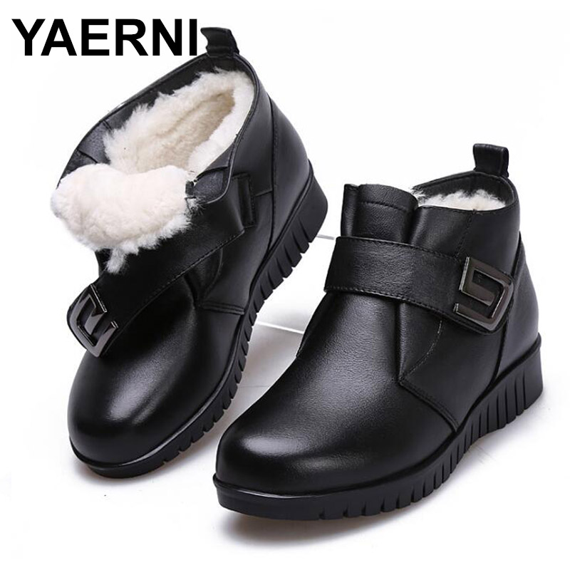 YAERNI 2018 Warm and comfortable fur one wool boots snow boots flat Non-slip Middle-aged women boots fashion casual shoes E650 spring and autumn flat shoes comfortable and easy to wear slip on closure type fur decoration win warm praise from customer