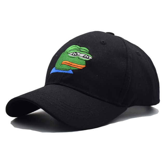Black Cap Sad Kermit Tea Cap Frog Pepe Embroidery Baseball Cap Snapback Caps Casquette Sad Frog Hats For Men Women