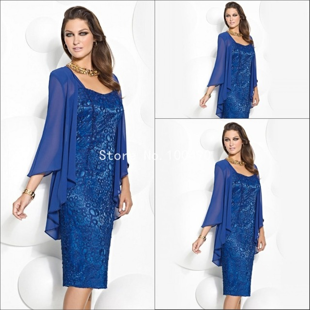 c31344e3b7 New Arrival Mother of the Bride Dresses Sheath With Jacket Tea-Length Blue  3 4 Sleeve Lace Short Evening Dress Hot Sale HH1046