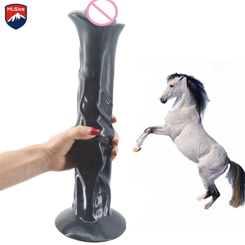 MLSice 35CM Realistic Huge Horse Dildo Super Big 13.8Inch Animal Glans Penis Long Thick Buffalo Giant Dick with Strong Sucker super realistic animal dildo huge big penis artificial fake dick dick masturbator large giant dildos sextoys adults for women