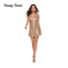 e74741ccc6e5a2 Fandy Finds Sequin Dress Banquet Champagne Spaghetti Strap V-Neck Backless Sexy  Club Women Ladies Night Party Girls Sequin Dress