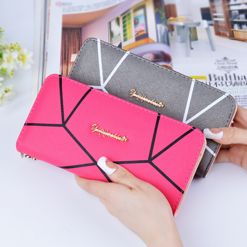 Geometrische Frauen 120 Lange Teile Brieftasche Reißverschluss Langen Geldbörsen los Design Großhandel Mode RqdzwEd