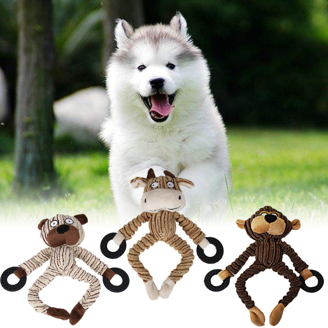 3 Types Funny Pet Dog Toys Chew Squeaky Toys Cow/Bear Plush Sound Animal Shape for Small Dogs