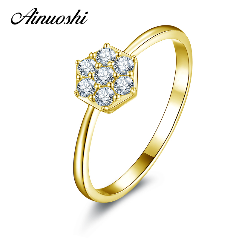 AINUOSHI 10K Solid Yellow Gold Women Wedding Rings Trendy Flower Bridal Jewelry Sona Simulated Diamond Engagement Wedding Ring