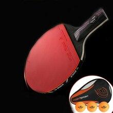 Профессиональная 9,8 углеродная система ракетка для настольного тенниса с лезвием летучей мыши длинная короткая ручка ракетка для пинг-понга с сумкой для переноски