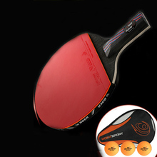 Professional Table Tennis Bat Trianing Table Tennis Blade Rackets Long Short Handle Ping Pong Paddle Racquet With Carry Bag