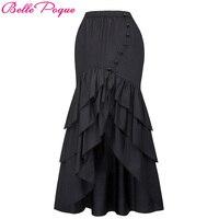 Belle Poque Women Black Long Maxi Skirt 2017 Fashion Mermaid Skirts Sexy Slim Fishtail Long Corset Skirt Steampunk Gothic Skirts