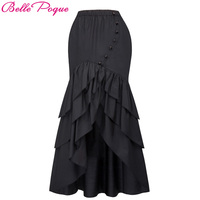 Belle Poque Women Black Long Maxi Skirt 2017 Fashion Mermaid Skirts Sexy Slim Fishtail Long Corset Skirt Steampunk Gothic Skirts