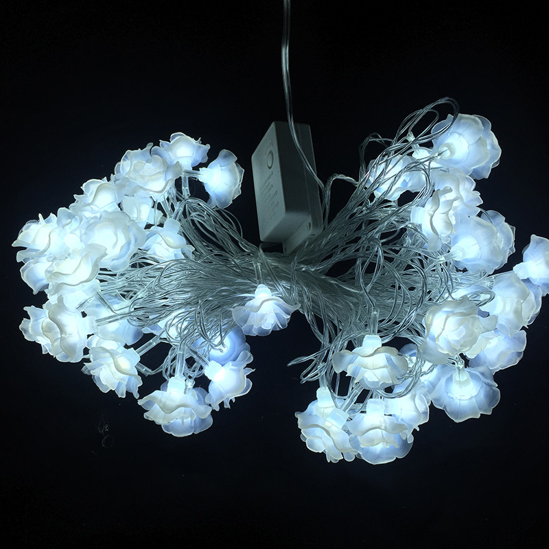 10M 50LED Romantisk Rose Flowers LED String Jullampor utomhus Fairy - Festlig belysning - Foto 4