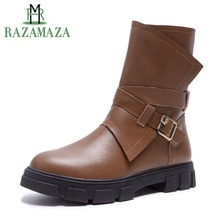 Купить с кэшбэком RAZAMAZA Women Genuine Leather Flats Boots Quality Buckle Zipper Winter Shoes Women Designer Half Short Knight Boots Size 34-43