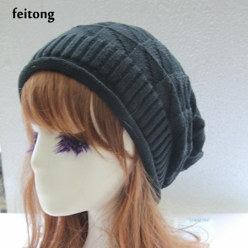 Feitong Newly Winter Hat Women Autumn Winter Shaped Wool Winter Cap Knit Hats For Women Bonnet Femme Gorros De Lana Mujer knitted winter autumn female hat plaid lace beanie cap woman chunky baggy cap skull gorros de lana mujer femme beanies cap
