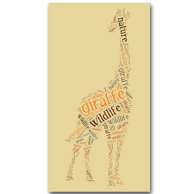 Colourful Geometric letter Giraffe Canvas Art Print Poster, Wall ...