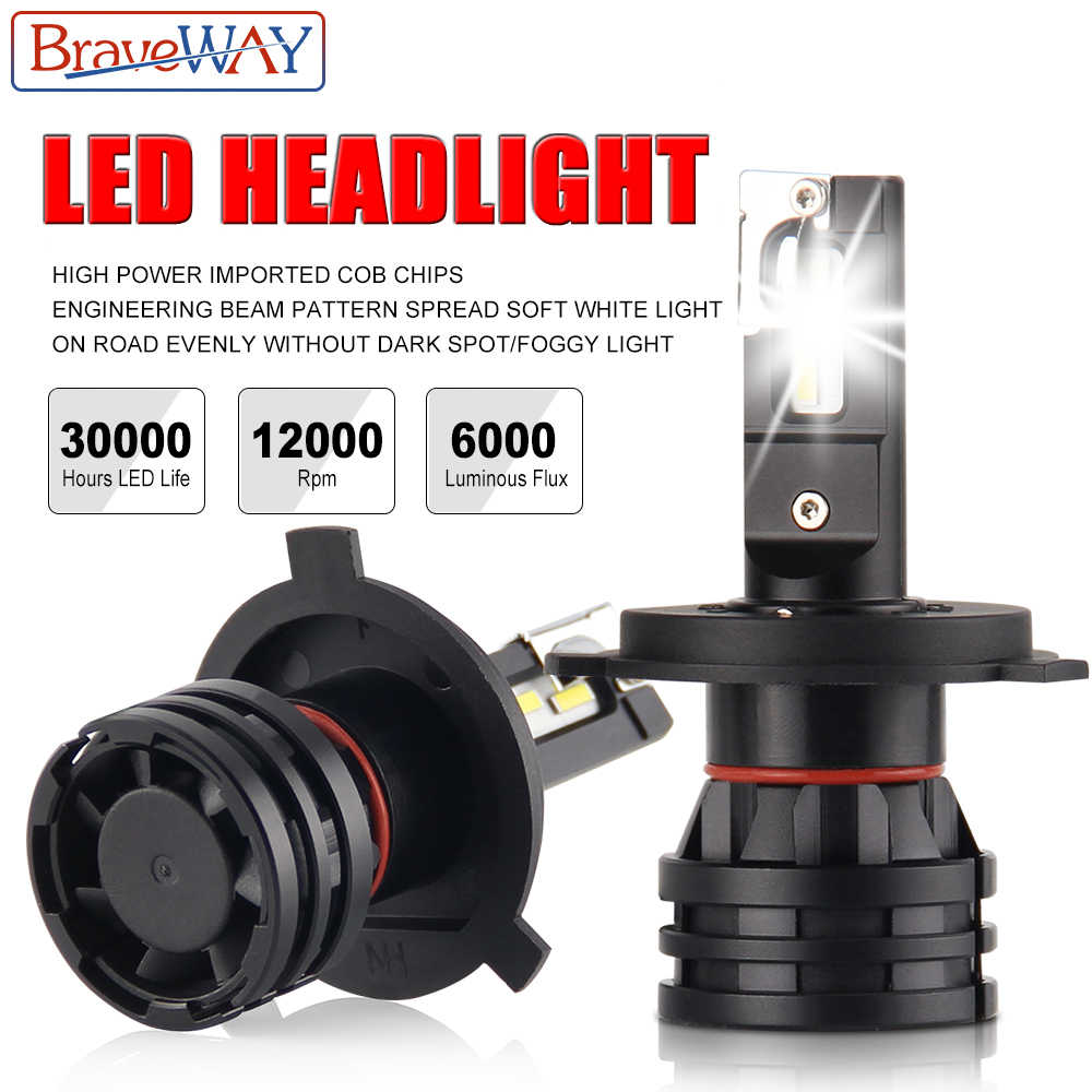 BraveWay H4 LED Car Headlight Bulbs H7 9005 HB3 9006 HB4 LED Auto Bulb 6500K 12000LM 60W 12V 24V H7 H11 LED Bulbs for Motorcycle