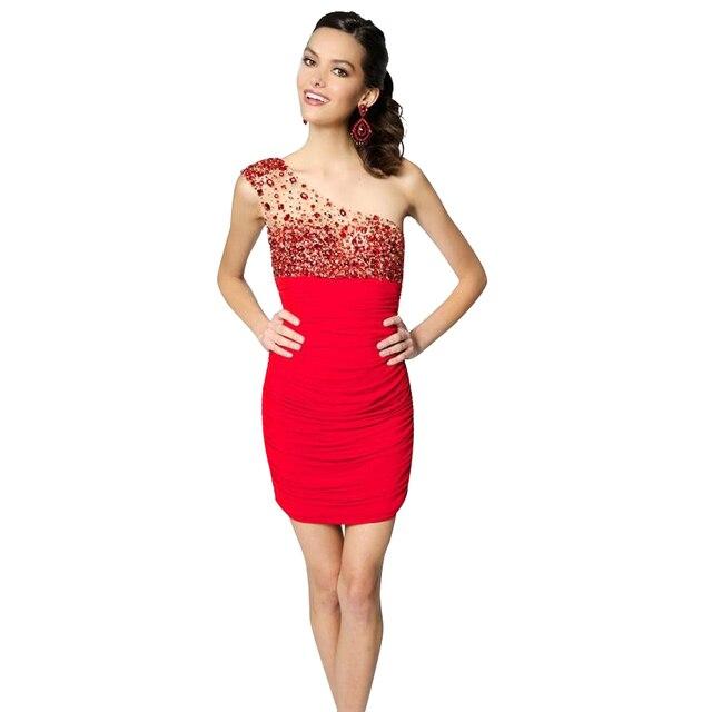 51fb02224 Vestidos de Cóctel rojo 2017 Sexy de Cristal de Un Hombro Mini Gasa Vestido  Corto Vestido