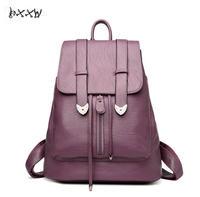 Women Leather Backpack School Bags Mochilas Mujer 2017 Backpacks For Teenage Girls Designer High Quality Sheepskin