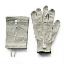 Guantes de masaje de electrodo de fibra deslizante conductora y almohadillas de codo y Cables adaptadores de 4 Uds con unidad TENS/EMS para terapia física