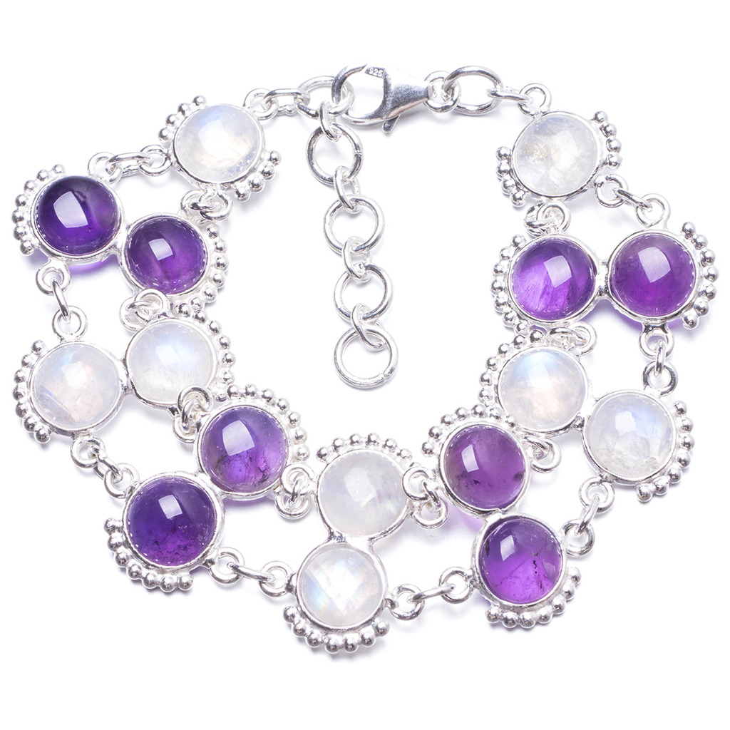 Natural Rainbow Moonstone and Amethyst Handmade Unique 925 Sterling Silver Bracelet 6 3/4-8