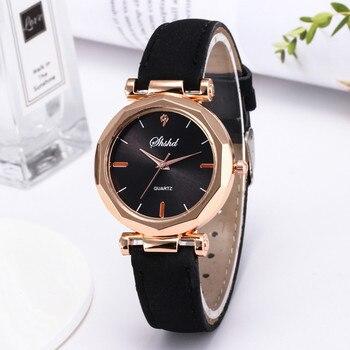 Crystal Rose Gold Women Watches Casual Female Leather Quartz Wrist Watch Exquisite Exquisite Ladies