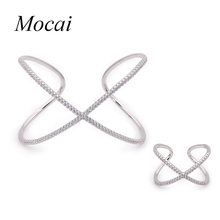Fashion Modern Simple Rings for Women Cross X Shape Ring Zirconia Micro Paved Gold Color Bangle Jewelry Sets ZK30