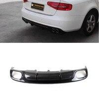 JIOYNG Carbon Fiber /ABS 4 Outlet Car Rear Bumper Lip, Auto Car Rear Diffuser For Audi B8 B9 A4 S4 2008 2015