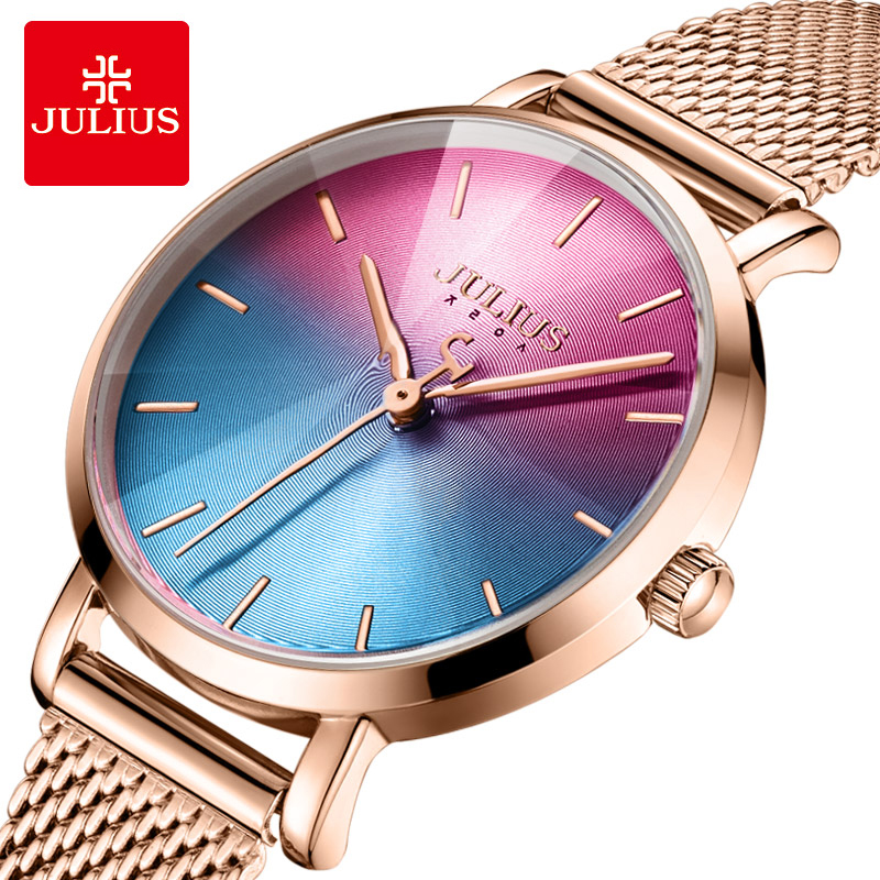 Julius Ladies Creative Gradient Dial Watch For Women Stainless Steel Mesh Band Dress Watch Rose Gold Ultra Thin Watch With Box