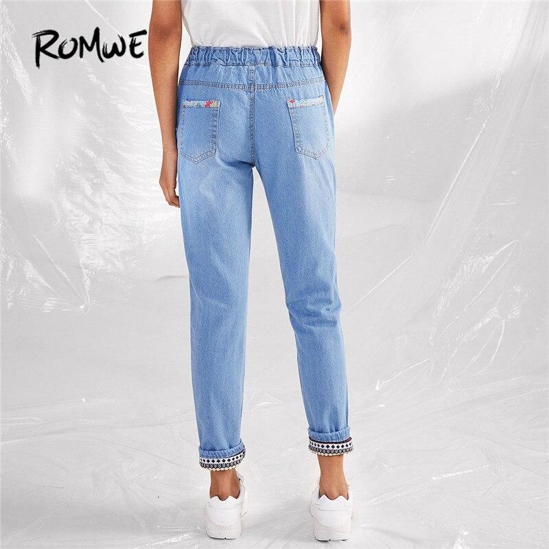 14ba06a9 US $18.99 45% OFF|ROMWE Tribal Pattern Casual Loose Jeans Women Light Blue  Drawstring Denim Pants Autumn Fashion New Mid Waist Vintage Jeans-in Jeans  ...