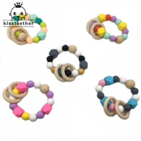 5pcs Baby Teether Nursing Bracelet Silicone Beads Wooden Ring Beads Teether Nature Safe Organic Infant Baby