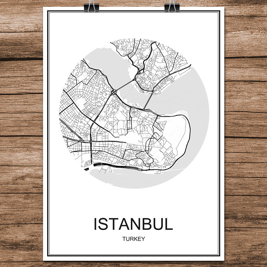 Abstract World City Street Map <font><b>ISTANBUL</b></font> Turkey Print Poster Coated Paper Cafe Living Room Home Decoration Wall Sticker 42x30cm image