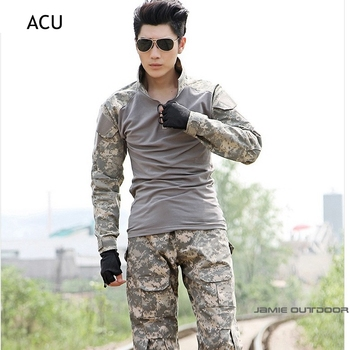 Men's Military Army Tactical Airsoft Combat Uniform Paintball Hunting Wear Sets Gen2 Shirt & Elbow Pad Pants & Knee Pads