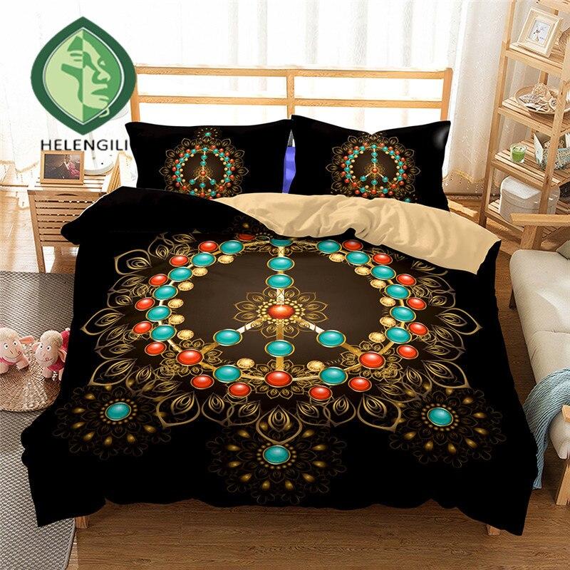 HELENGILI 3D Bedding Set Peace Hippie Print Duvet cover ...