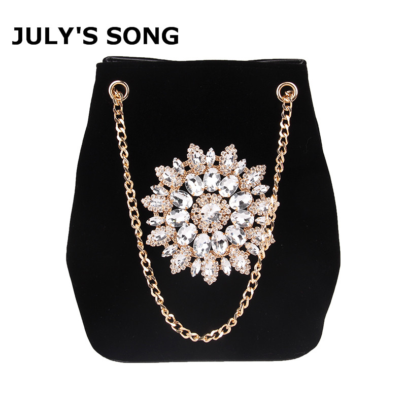 JULY'S SONG Velour Bucket Bag Women Embroidery Diamond Handbag Ladies Velvet Shoulder Bag Elegant Crystal Floral Chain Bags