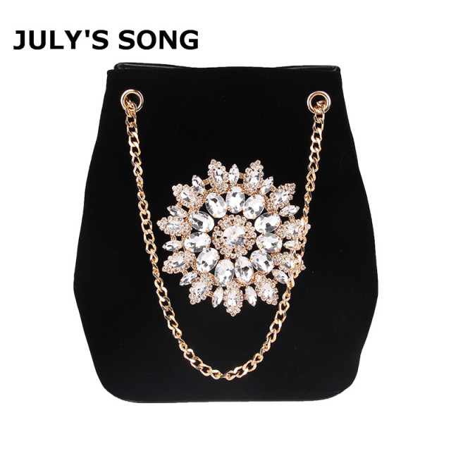 July S Song Velour Bucket Bag Women Embroidery Diamond Handbag Las Velvet Shoulder Elegant Crystal Fl