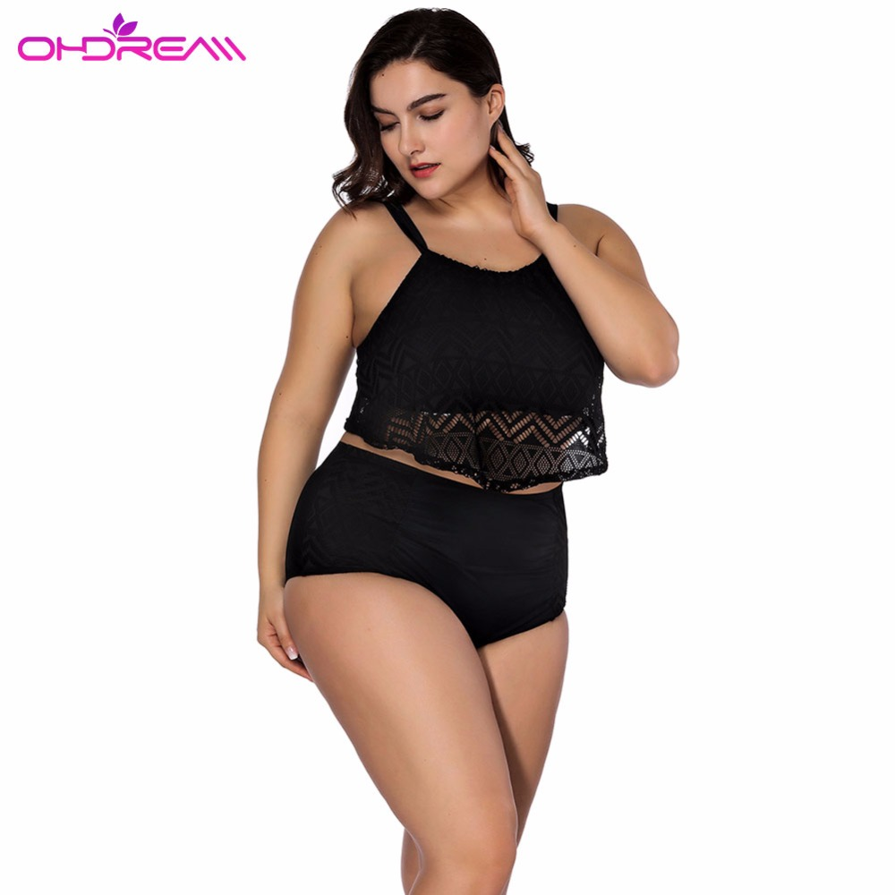 OHDREAM <font><b>Sexy</b></font> <font><b>Plus</b></font> <font><b>Size</b></font> Swimsuit <font><b>2018</b></font> New <font><b>Large</b></font> Lace <font><b>Swimwear</b></font> <font><b>Push</b></font> <font><b>Up</b></font> Swimming Suit Beach Wear High Waist Underwire Bath -C image