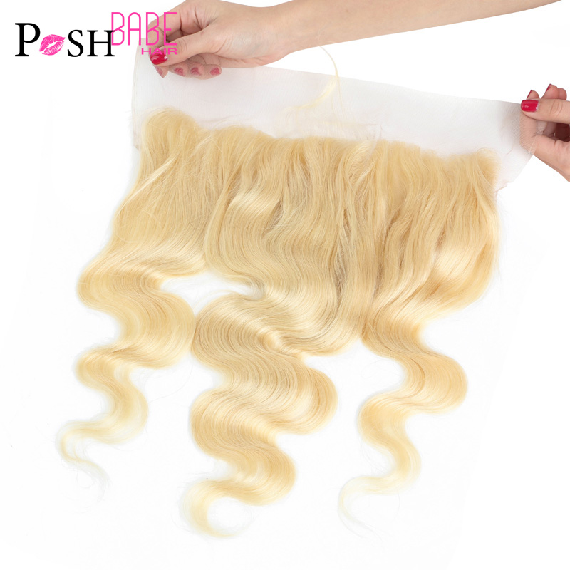 POSH BABE 13x6 Frontal Closure Body Wave Malaysian 8 - 22 Inch 613 Blonde Lace Frontal Human Hair Bleached Knots With Baby Hair