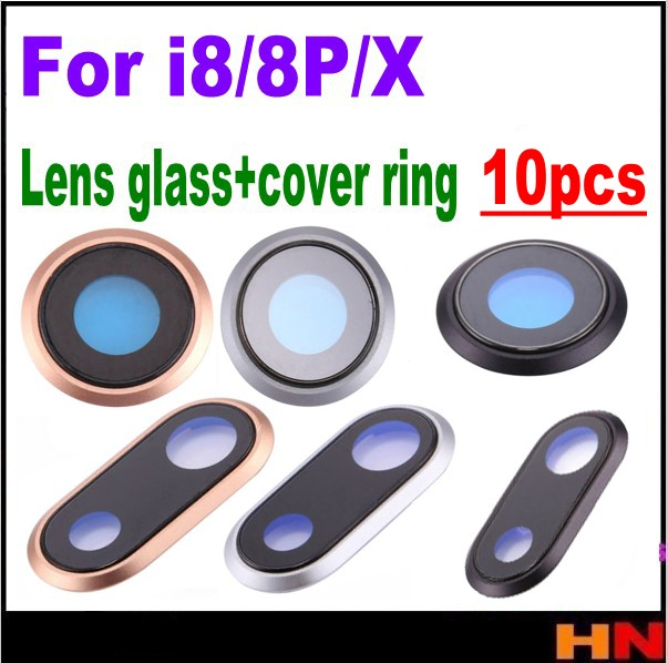 10pcs For iPhone 8 8p plus X New Back Rear Camera Lens Glass Cover Ring with Frame Replacement Parts