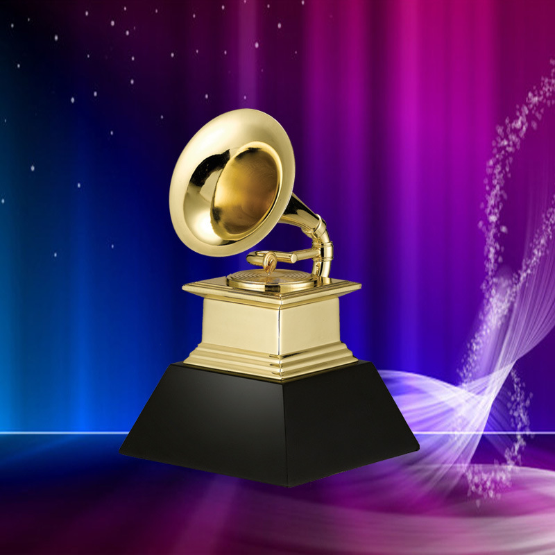 Us 173 7 10 Off Dhl Free Shipping Grammy Award Trophy Metal Gramophone Marble Base By Naras 1 1 Size Golden Awards In Party Favors From Home