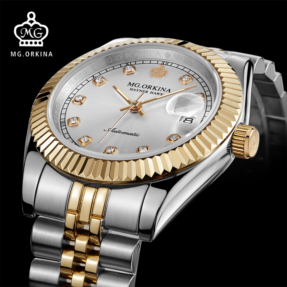 MG ORKINA Men Watches 2016 Luxury Sapphire Window Japan Movement Mechanical Watch Auto Date Display Male