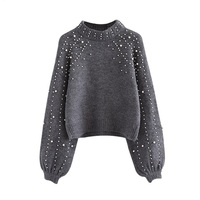Pearl Beaded Rib Knit Jumper Winter Sweater Womens Pullover Sweaters Grey Stand Collar Long Sleeve Tight