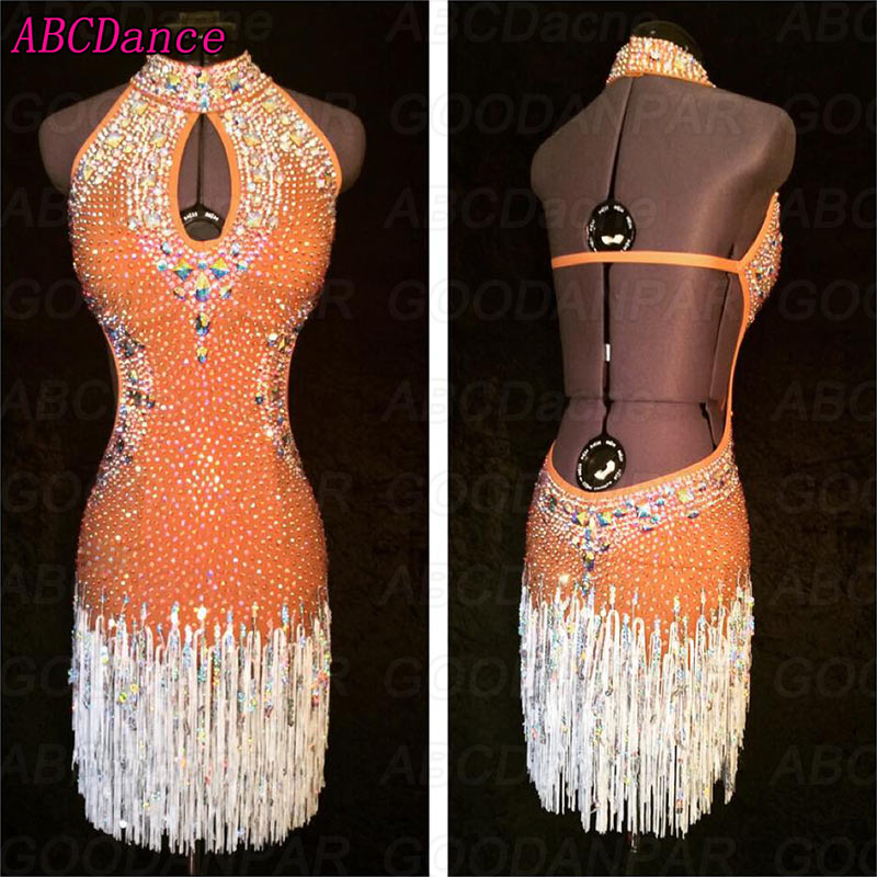 Latin Dance Dress Women Sexy Backless Latin Dance Dress High-Neck Tassels Ballroom Dance Dress Tango Rumba Cha Cha Dress