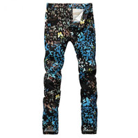 Free Delivery 2017 Men S Fashion Butterfly Print Jeans Casual Slim Fit Black Blue Fancy Painted