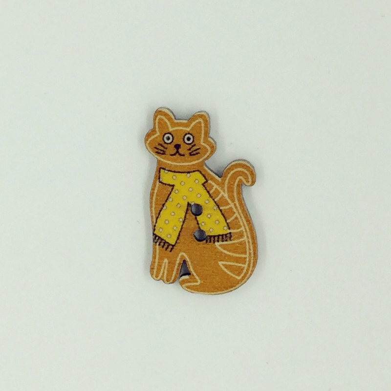 ANY CRAFT 5 CUTE CAT SHAPED 2 HOLED WOODEN BUTTONS 3 cm x 2 cm MULTI COLOURED