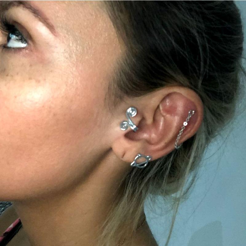 Swirl CZ Non Piercing Clip On Ear Ring Cuff CHOOSE SINGLE OR PAIR
