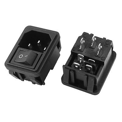 AC10A 250V 4P O/I Rocker Boat Switch IEC320 C14 Male Plug Power Socket 2 Pcs black iec320 c14 inlet module plug switch male power socket w 2 pin switch