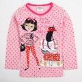 Una sola pieza puede elegir el tamaño marca nova embroma a muchachas de la camiseta niña manga larga camiseta con bow baby girl clothjes embroma la ropa F4563