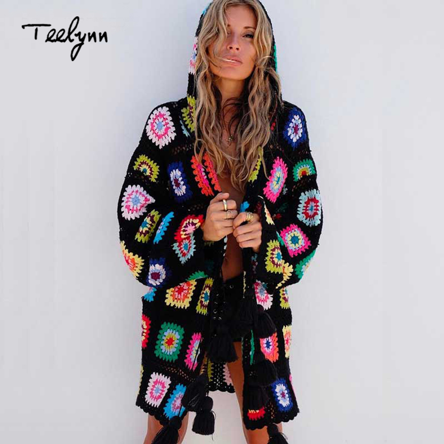 TEELYN Boho Floral Knitted Hooded Cardigan OW186423