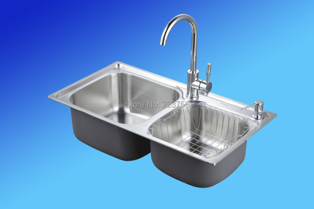 used kitchen sinks for sale cabinets woburn ma 304 stainless steel rectangular double bowl sink with faucet 7641
