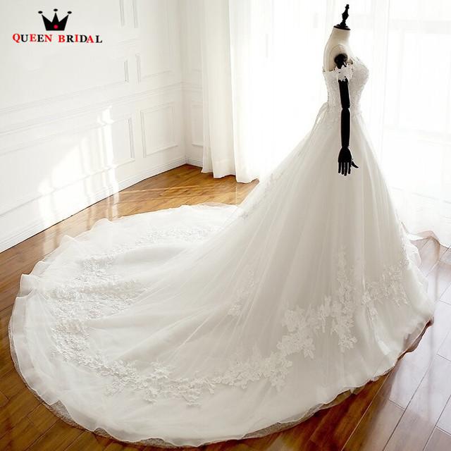 Custom Made Elegant Ball Gown Wedding Dresses Lace Beading Romantic Long Bride Wedding Gown 2018 New Vestidos De Novia WD18