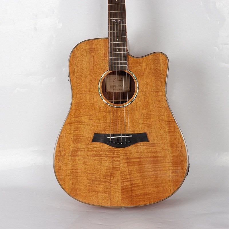 flame maple wood hand made acoustic electric guitar high quality